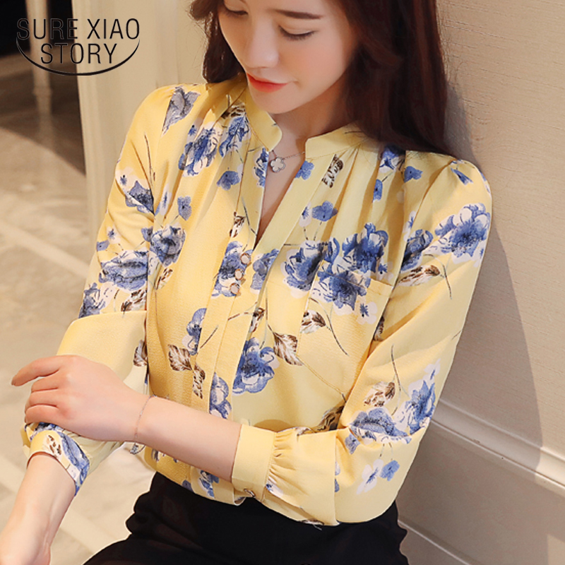 Fashion 2019 OL women   blouse     shirts   V neck long sleeve print chiffon female clothing women tops feminine blusas Z0001 40