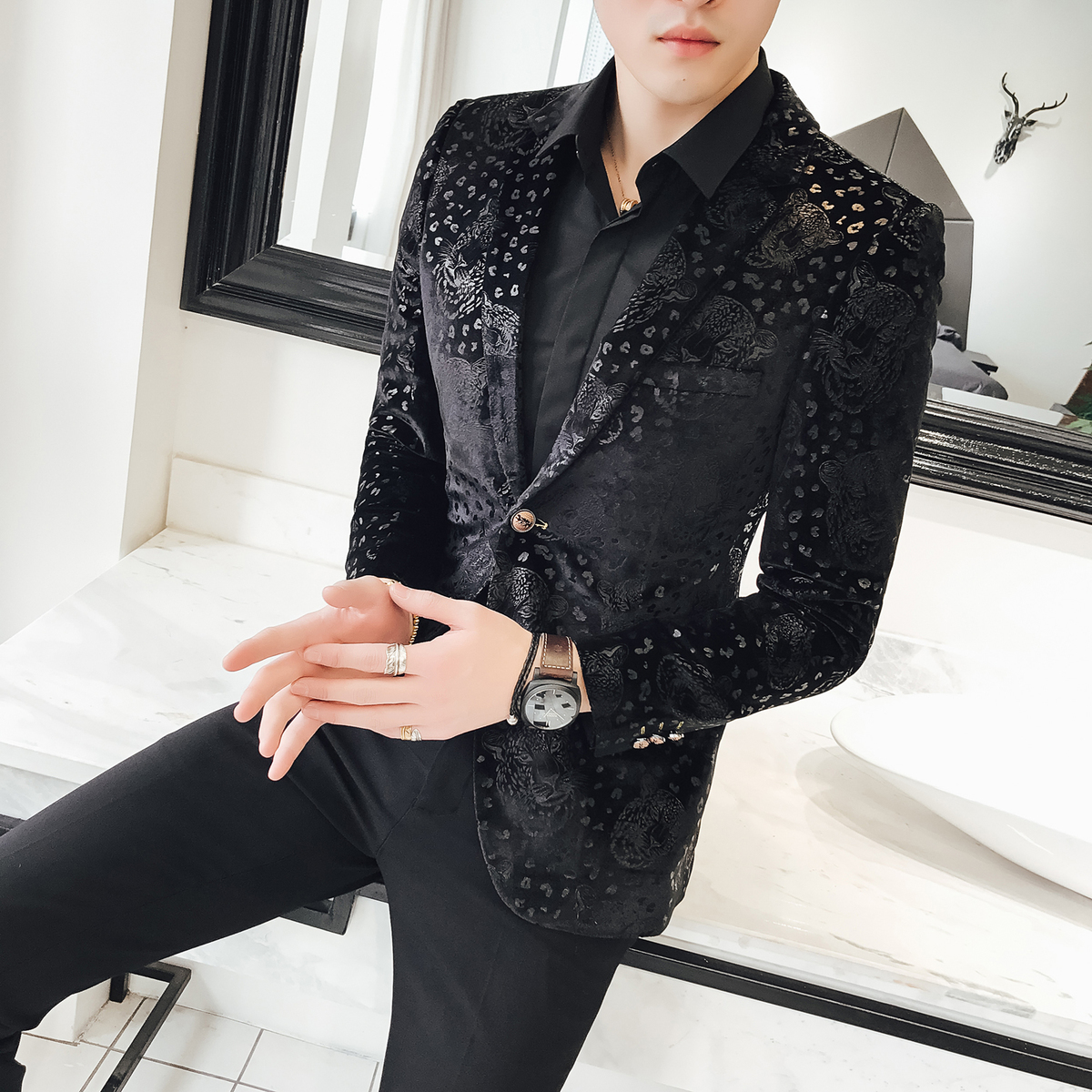 Black Velvet Flower Blazer Men Luxury Business Casual 2018 New Blazer Hombre Suit Jacket Men Plus Size 5xl 4xl