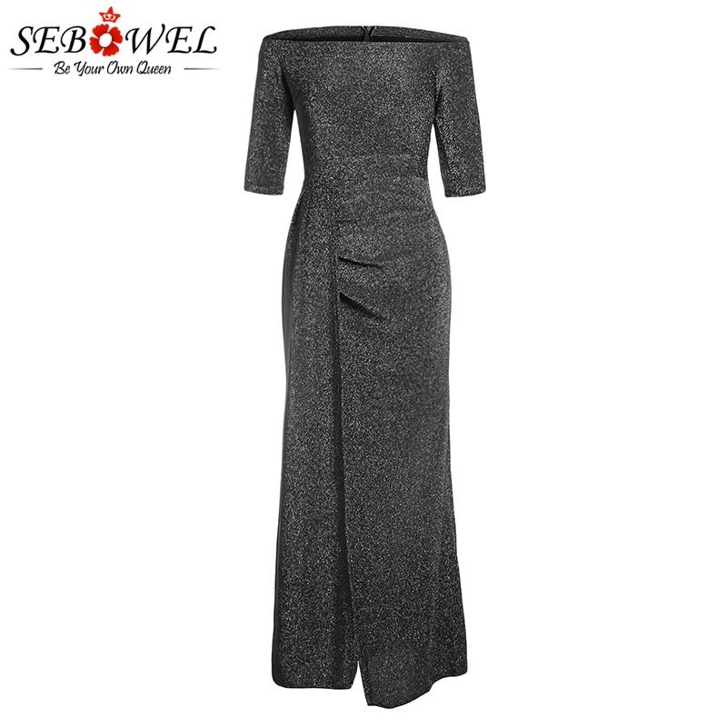 SEBOWEL Navy Sexy Metallic Glitter Off Shoulder Maxi Party Dress ... e3d3ac4b37da