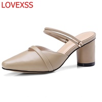 LOVEXSS Fashion Elegant Simple Sandals Retro Baotou Sandals Leather Two Shoes Female 2018 Summer New Style