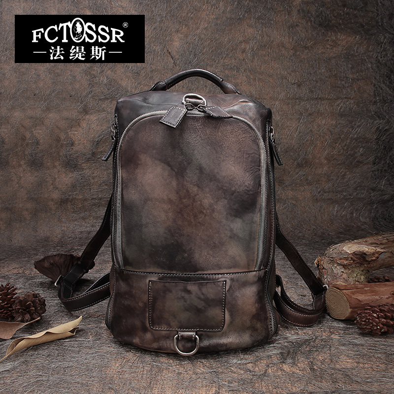 Genuine Leather Backpack Female Original Berus Warna Beg Perjalanan - Beg galas
