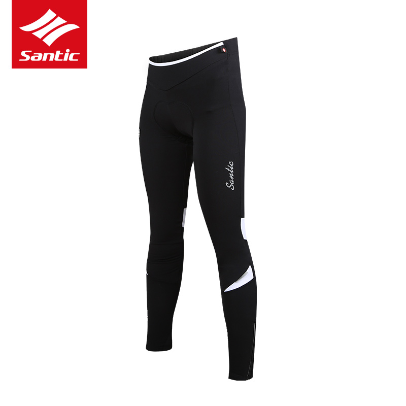 Santic Women Cycling Pants Fleece Thermal Padded Long Pants Winter 4D Cushion Pad Reflective Bicycle Pants Ciclismo Asian S-2X santic men winter cycling pants thermal fleece windproof mtb road bike pants 4d padded bicycle long pants cycling clothes