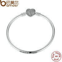 BAMOER 17CM 19CM 21CM 925 Sterling Silver Love Heart Chain Snake Bangle DIY Original Jewelry PAS905