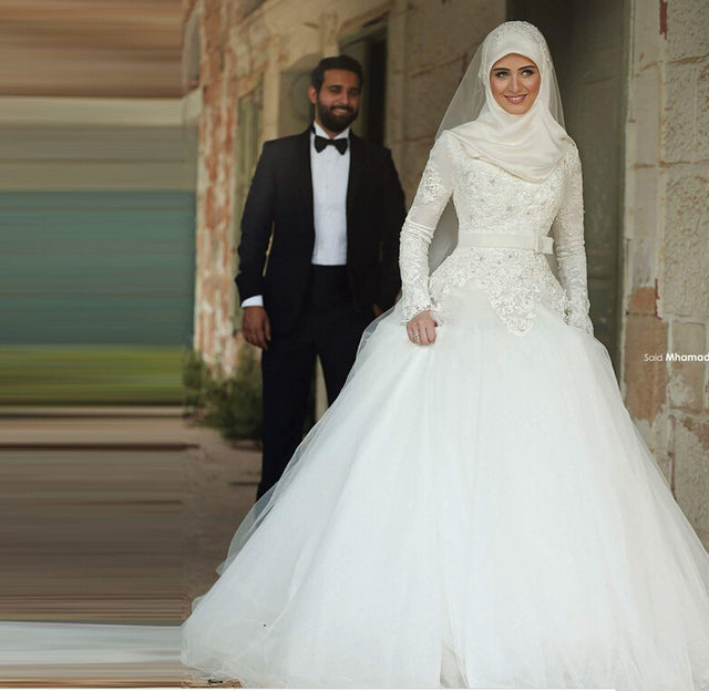 Ic Wedding Dress Traditional Arabic Dresses White High Neck Long Sleeve Robe Dubai