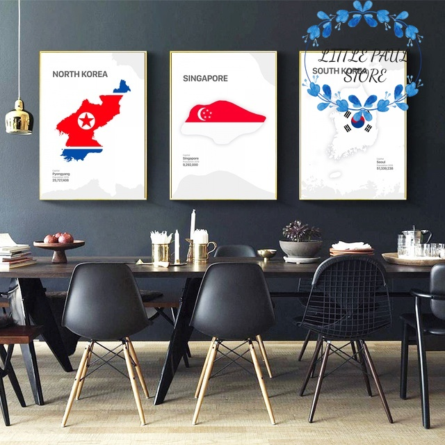 Map and Flag North South Korea Singapore Thailand Vietnam Art Canvas Poster Wall Picture for Living Room No Frame image