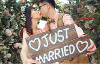 Wooden JUST MARRIED Creativity Wedding Party Prop Hanging Sign Hang Decorations