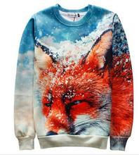 Sudaderas hombre 2016 gymshark sweatshirt neue herbst/winter hoodies netter tier red fire fox im schnee 3D sweatshirt