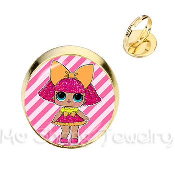 16 MM Glass Dome Rings 1 PC LOL Dolls Pet With LOL Doll For Kids Gift Baby Ring Jewelry лол блинг