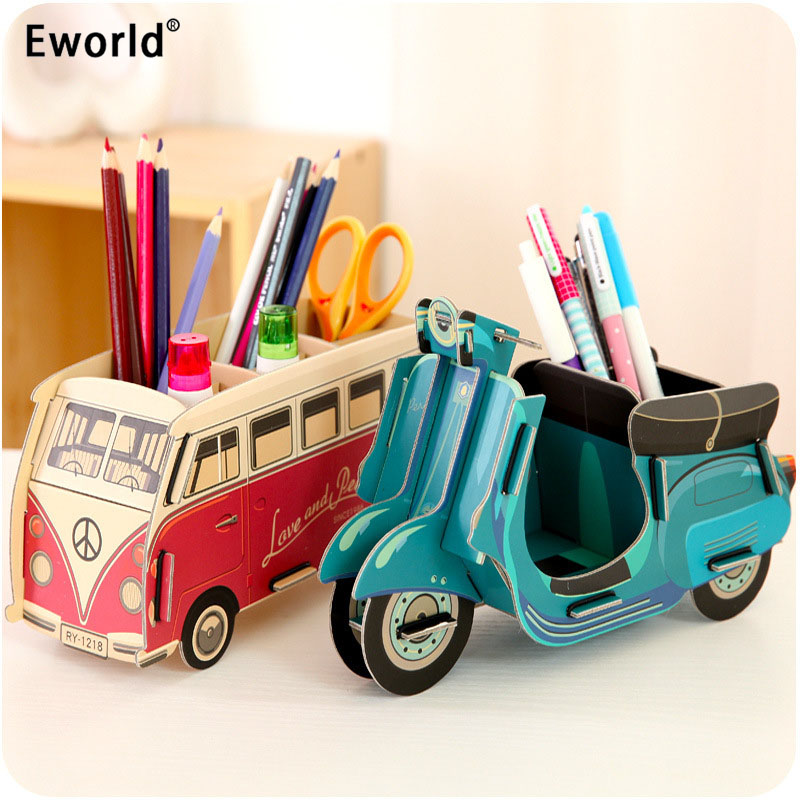 Eworld Creative DIY Kartonnen Desktop pennenhouder Castle Bus Piano Opbergdoos School Briefpapier Office Organizers Box Kids Gift