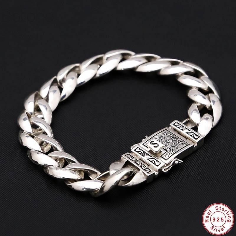 2019 New Solid 925 Sterling Silver Bracelets Man High Polish Link Chain Bracelet For Men Vintage Punk Jewelry For Male charm men