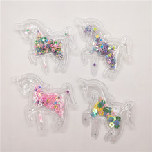 16pcs/lot 5.6x6.3cm Mix color Transparent unicorn Sequins Flowing Appliques DIY Accessories Craft Handmade Decoration