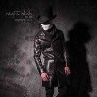 2017 male slim turn down collar leather clothing male medium long slim waist plus velvet thermal patent leather