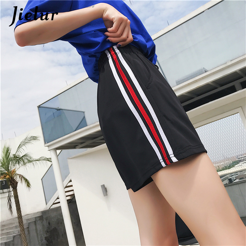 Jielur Women Shorts Waist High-Elastic Stripe Femme Korean Casual Fashion Harajuku Loose