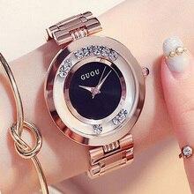 GUOU Venta Caliente de Las Mujeres Relojes de Lujo Rhinestone Mujeres Del Reloj de la mujer reloj de Oro Rosa Pulsera Señoras Relojes Reloj montre femme saat