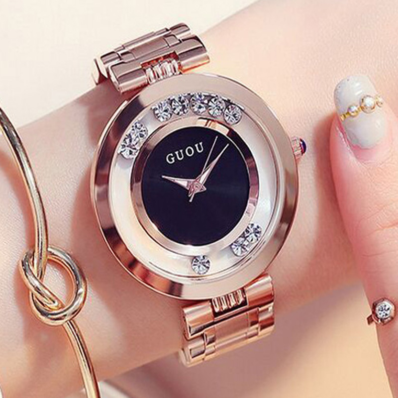 GUOU Women Watches Luxury Rhinestone Watch Women Rose Gold Wristwatches Ladies Watches Full Steel Clock saat relogio feminino excel® 2010 just the steps for dummies®