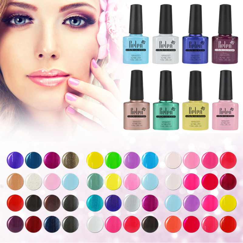 Belen 4Pcs/Kit UV Gel Nail Polish Vernis Semi Permanent 7.3ML Varnish Design Manicure Art Hybrid Soak Off Varnish Lacquer Set