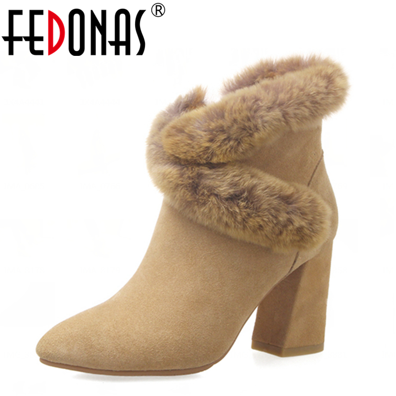 FEDONAS Fashion Women Winter Ankle Boots High Heels Zipper Genuine Leather Shoes Woman Dress Party Riding Boots Warm Snow Boots fedonas new fashion women genuine leather winter warm wool snow boots women ladies flats heels comfortable casual shoes woman