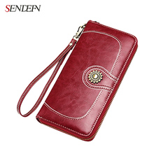 Sendefn 2017 New Leather Women Wallets Large Capacity Lady Wallet Clutch Phone Pocket Female Purse Card Holder Ladies Purses