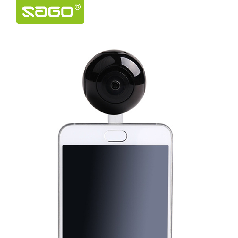 SAGO mini 360 video camera VR Panoramic Camera portable pocket Camera Dual Lens for Type-c/Micro usb phones PK 360 air magicsee 3k hd mini 360 camera live panoramic camera portable pocket vr camera dual lens camera 360 for type c micro usb phones