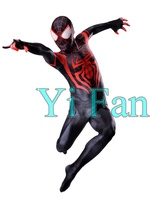 Miles Morales Spiderman Costume Custom Spandex Superhero Cosplay Zentai Suit Hot Sale Freeshipping