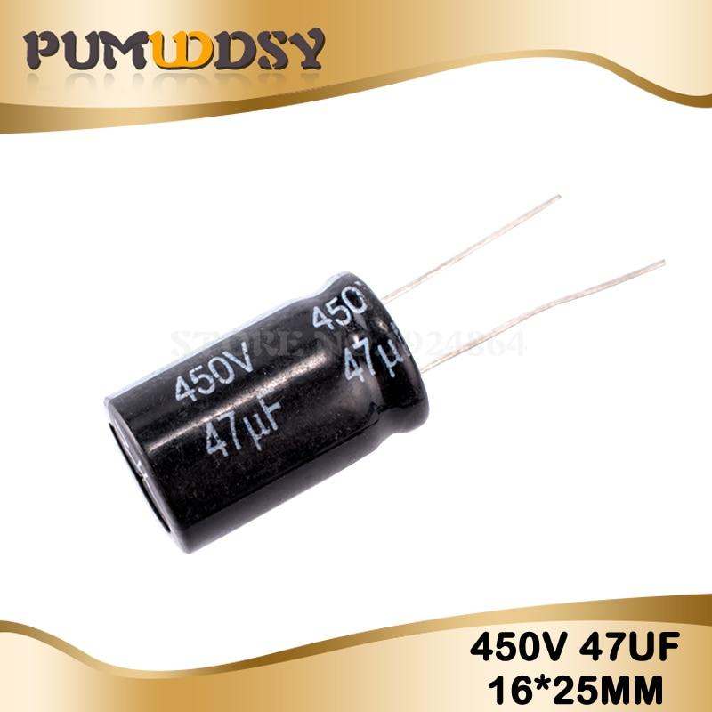 5PCS Higt Quality 450V47UF 16*25mm 47UF 450V 16*25mm Electrolytic Capacitor