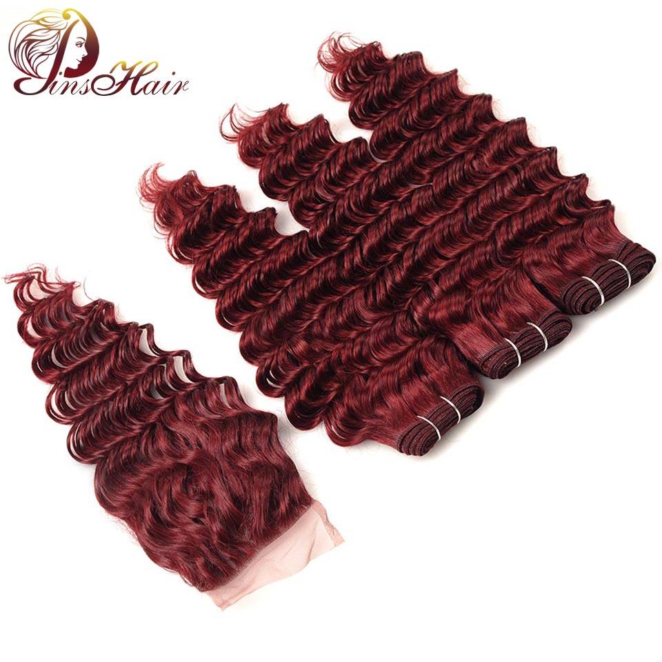 Pinshair предварительно Цветной перуанской глубокая волна волос Комплект с Синтетическое закрытие волос красный 99j бордовый 4 шт. человека Хими...
