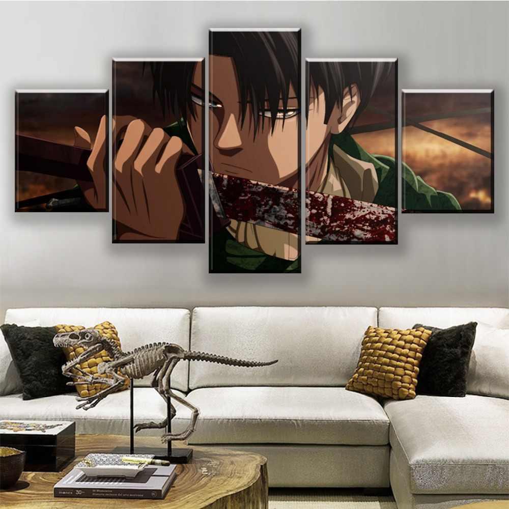 Lienzo pared arte impresión Marco de pintura Anime cuadro moderno 5 paneles ataque a la sangre de los titanes Levy Ackerman espada cartel decoración para el hogar