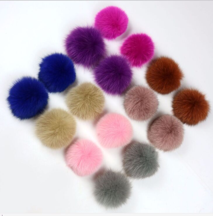 New DIY Multi Color 7cm Real Fox Pom Poms Soft Genuine Fur Wool Balls For Winter Knit Hats Beanies Bags Clothing Accessories