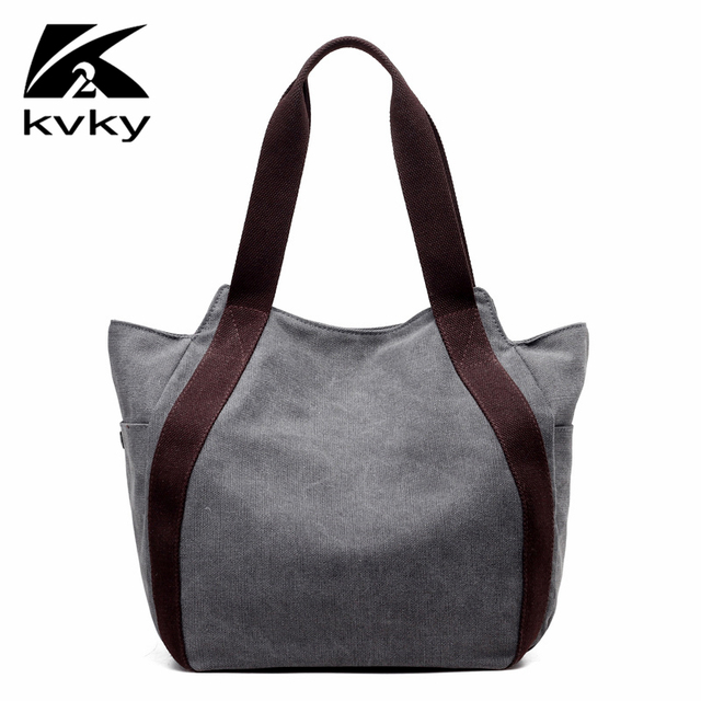 Kvky Designer Women Handbags High Quality Fashion Brand Shoulder Bag Las Casual Canvas Tote