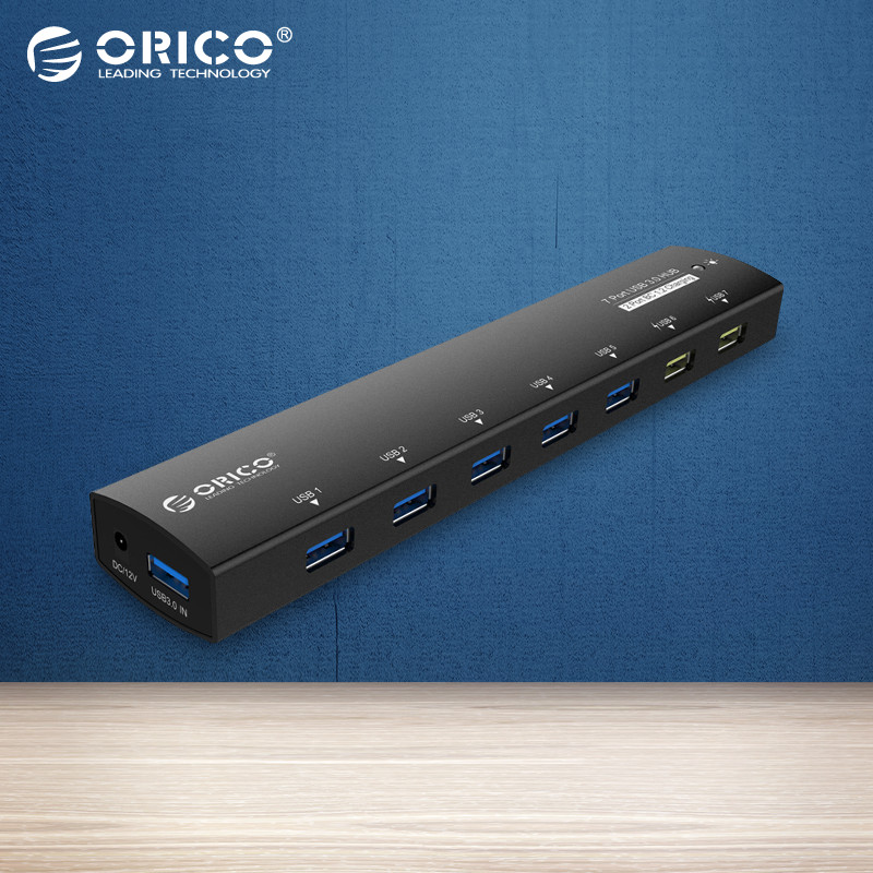 ORICO Aluminum 7 Port USB3.0 HUB with Power Splitter Adapter with 2 ports BC1.2 Interface-Black(AS7C2-BK)
