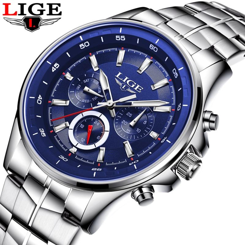 LIGE Top Brand Luxury Watch Men Business Waterproof Mens Watches Fashion Casual Sport Quartz Wristwatch Relogio Masculino+BOX