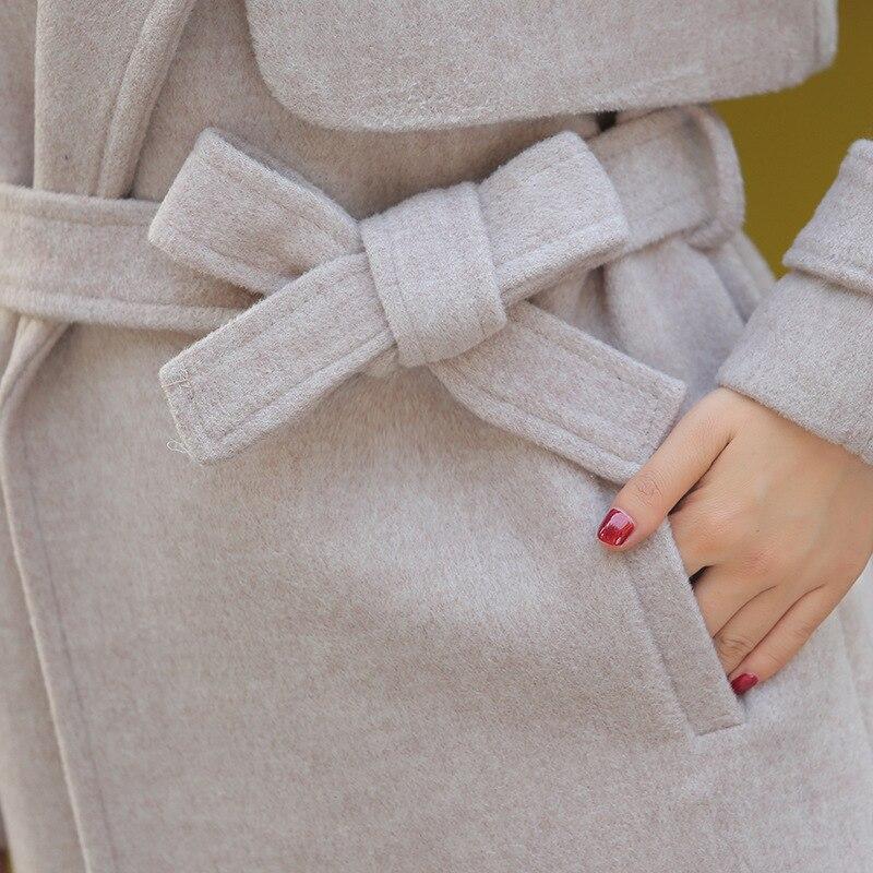 Femmes Mince Bouton Laine Turn Long noir Streetwear Survêtement Mélange Veste Beige Couvert Manteau Et Col down Hiver qTng8B85