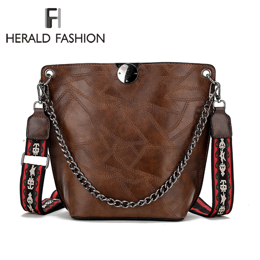 Herald Fashion Women Shoulder Bag Large Capacity Chain Bucket Handbags Quality Leather Womens Totes Shopping Bag Bolsa FeminineHerald Fashion Women Shoulder Bag Large Capacity Chain Bucket Handbags Quality Leather Womens Totes Shopping Bag Bolsa Feminine