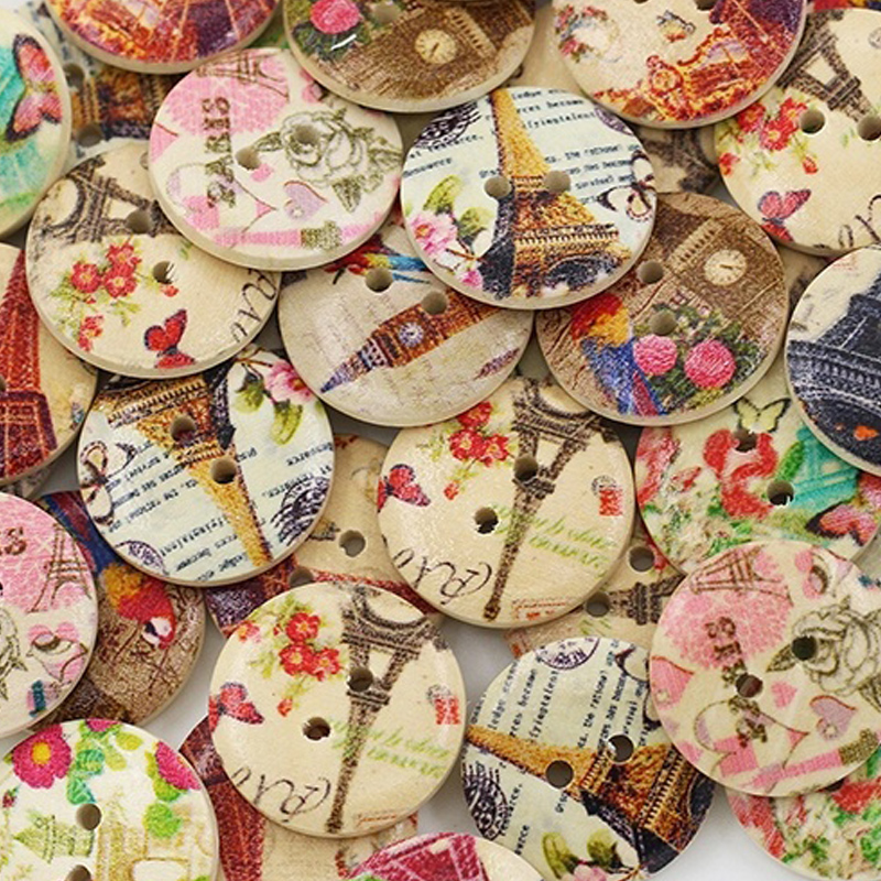 50PCs Famous Architectural Scenery Wooden Buttons 2 Holes DIY Accessories