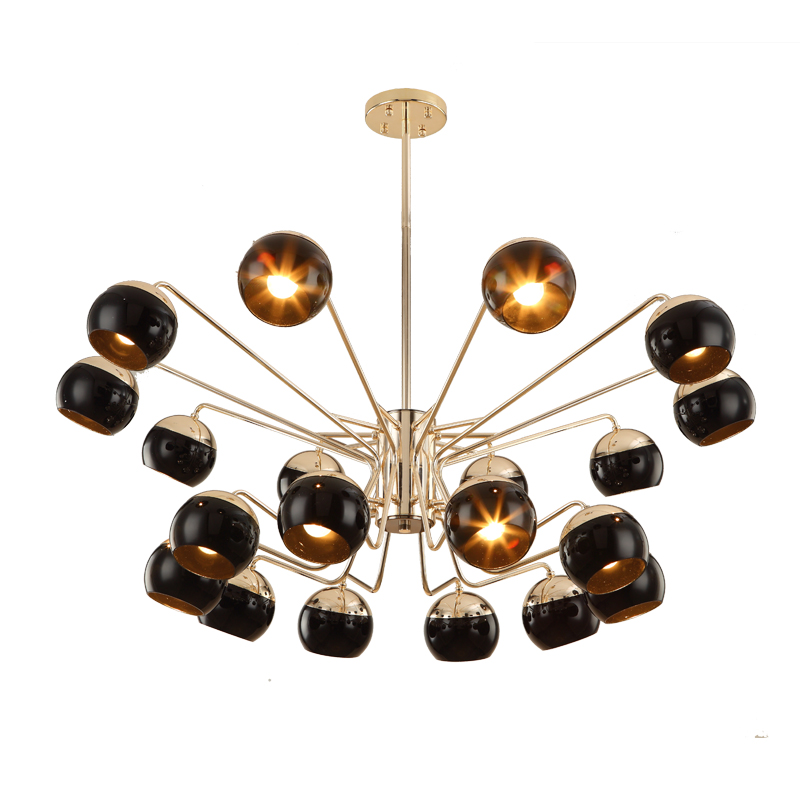 Nordic creative 20 arm led chandelier light Toolery black modern iron body Hanging lamp villa E27 lamp pure white 6000K AC220V 45 head nordic creative circle dia 95cm led chandelier light round bubble glass lampshade villa g4 lamp 3w ac220v free shipping