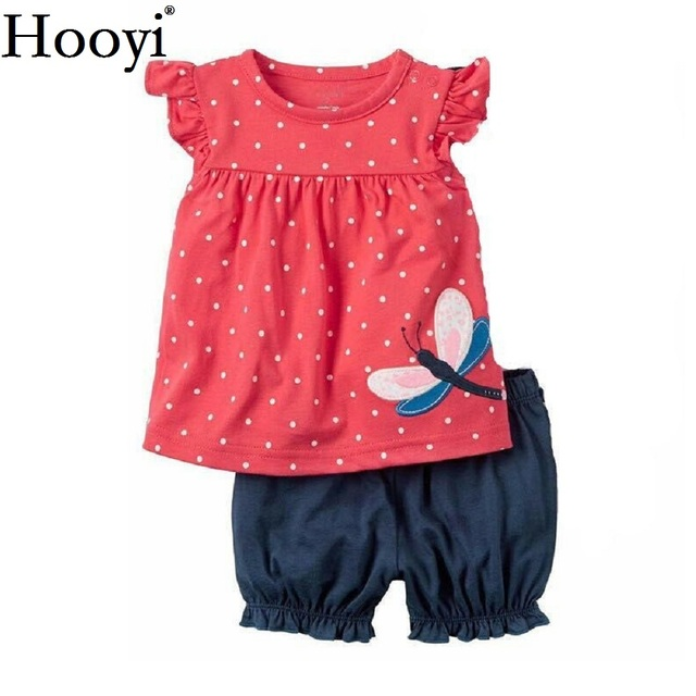 477c773ea230 Fashion Baby Clothes Suit Dragonfly Red Newborn Clothing Sets Girl T-Shirt  Jumpers Shorts Pants