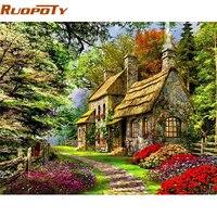 RUOPOTY Frame Casa Verde Pintura DIY Por Números Pintura Acrílica Por Números Casa 40x50cm Arte Retrato Da Arte Da Parede Presente Original