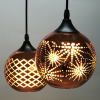 Classic Design LED Lamp Pendant Light Diameter 15cm Plating Copper Hollow Out Glass Mirror Ball Hanging