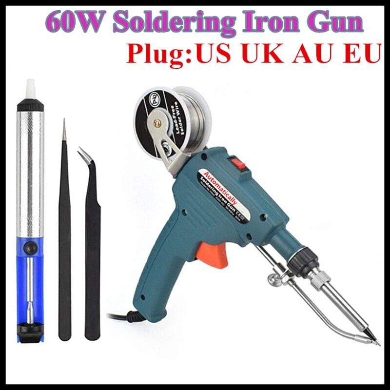 60W Hand-held Internal Heating Soldering Iron Automatically Send Tin Gun Soldering Station Welding Repair Tool Desoldering Pump