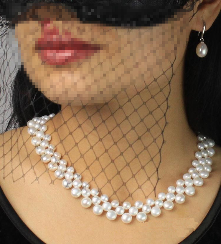 Amazing price AAAA high quality natural freshwater multilayer pearl necklace for women white 8 9mm pearl jewelry 43cm