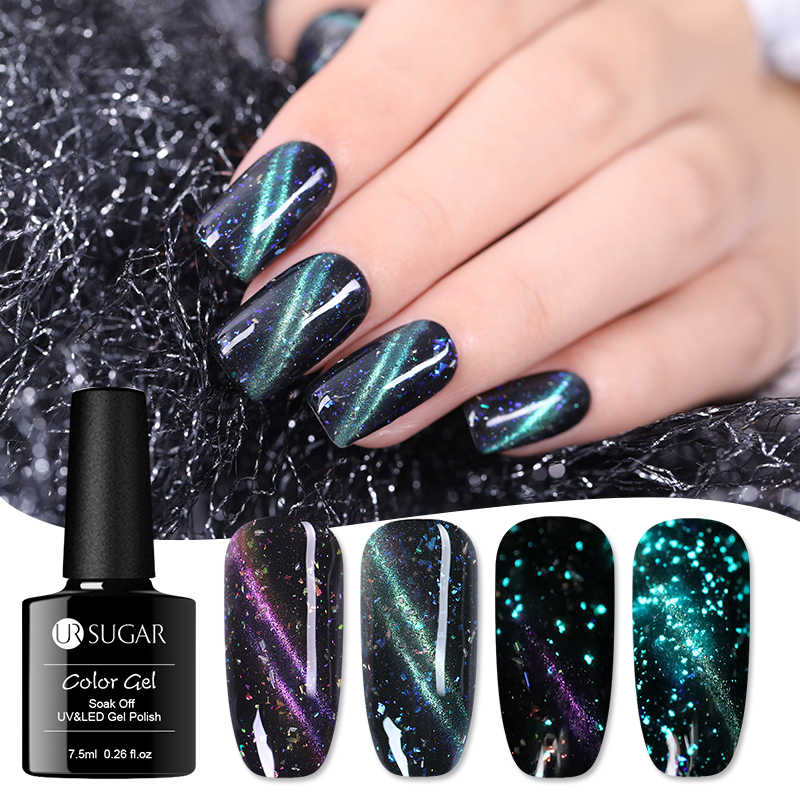 UR Gula 7.5 Ml Bercahaya Cat Eye Uv Gel Polandia Menyala Dalam Gelap 3D Magnetic SOAK Off Nail Art gel Lacquer