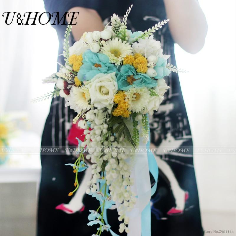 U&Home silk rose acacia yellow lilac artificial DIY <font><b>flower</b></font> bride bouquet opopanax for home wedding marriage decoration bulk NEW