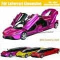 1:32 escala de liga de Metal de luxo fundido Super modelo de carro esportivo para LaFerrari Limousine coleção brinquedos modelo de carro com som e luz