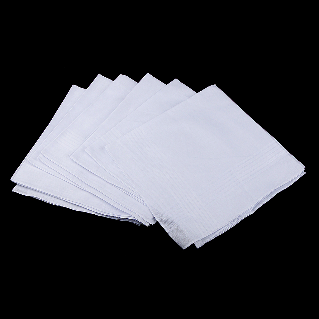 12 Pcs Men Women 100% Cotton Handkerchiefs Soft Pocket Hanky White Handkerchiefs