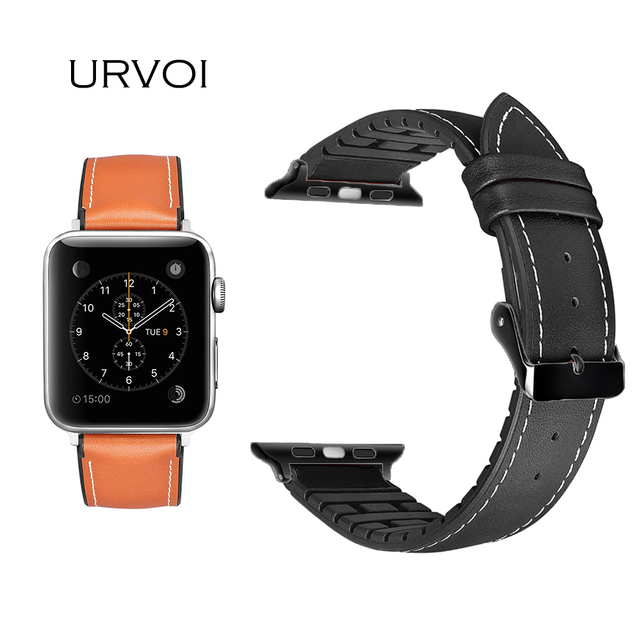 4b6f839e75 URVOI strap for Apple Watch series 4 3 2 1 leather band for iwatch belt  high quality breathable TPU back leather design 38 42mm