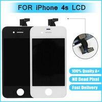 Для iphone 4S Стекло Сенсорный экран планшета ЖК-дисплей сборки Замена Класс AAA Черный и белый цвета цвет