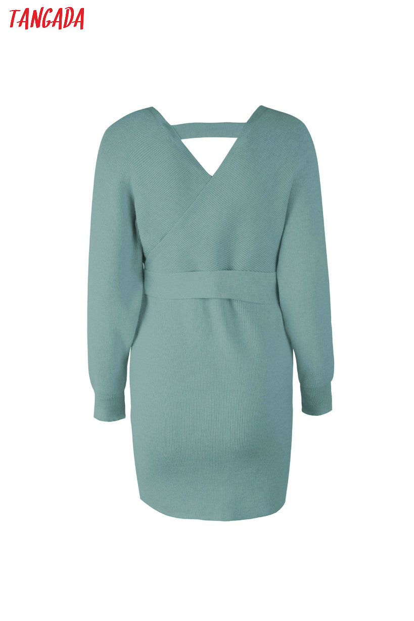 Tangada women dress 19 knitted mini dress autumn winter ladies sexy green sweater dress long sleeve vintage korean ADY08 27