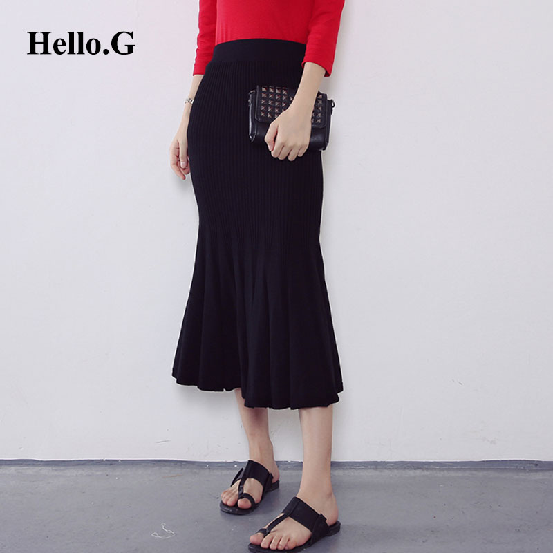 Grey Blue Red Black Solid Elastic Waist Knit Fishtail Skirts Women 2016 Autumn Winter Elegant Vintage Slim Pleated Long Skirts