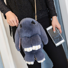 Echtpelz Kaninchen Handtaschen Frauen Luxus Designer Handtasche Damen Schultertasche Messenger Bags Marke Crossbody Taschen Bolsas Feminina