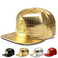 Novo estilo de Couro Do Falso Circular Cobre bonés de Beisebol das mulheres dos homens esportes snapback chapéu diamante ouro crocodile grain dj hip hop chapéus